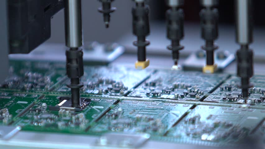 Electronic circuit board production. Automated Circut Board machine Produces Printed digital electronic board. Electronics contract manufacturing. Manufacture of electronic chips. High-tech #18465187