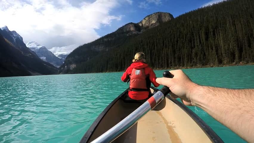 View of couple Kayaking Lake Louise Alberta Canada | Shutterstock HD Video #18466786