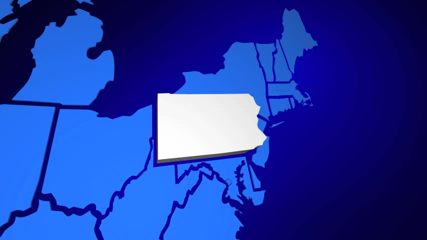 Pennsylvania Pa Usa United States America Map 3d Animation Hd Stock Footage Clip