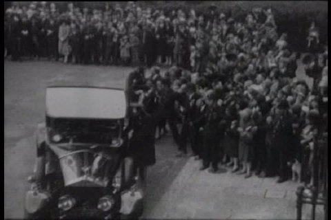 Charles Lindbergh is welcomed in US Embassy in London in the 1920s. (1920s)