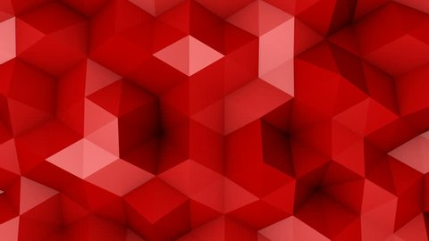 Red triangle polygons. Computer generated seamless loop geometric background. 4k UHD (3840x2160)