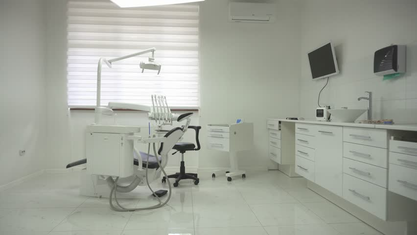 Dentist Chair With Different Modern Equipment In Clinic Concept Of Teeth Health And Care