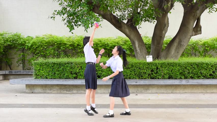 Cute Cheerful Asian Thai High Schoolgirls Student Couple -9061