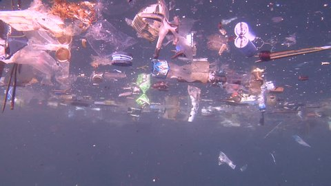 Ocean scenery rubbish and pollution, lots of floating plastic, environmental, trash, garbage, litter, in bluewater, HD, UP24024