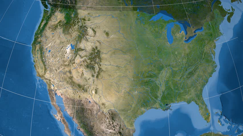 Texas Region Extruded On The Satellite Map Of United States Elements
