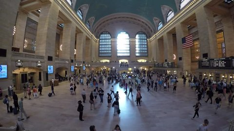 New York City, USA - June 2015 Passengers and tourists pass through Grand Central Station. Grand Central Station is one of the most iconic transport hubs in the world.