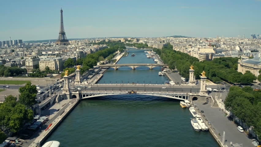Aerial view of Paris, France with Seine River and Eiffel tower in background. | Shutterstock HD Video #18667337
