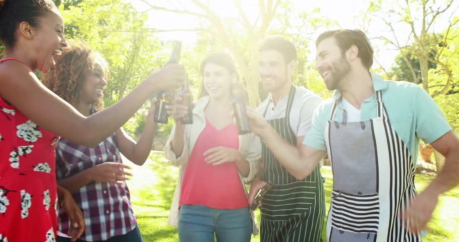 Group of friends toasting a beer bottle in park on sunny day 4k | Shutterstock HD Video #18674567