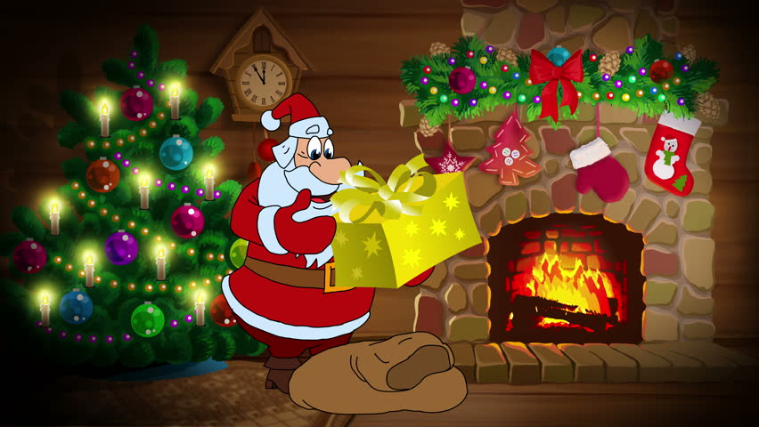 animated new year card with santa claus and new year gifts version of the cartoon film in english happy new year