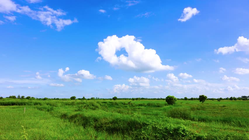 Green field and blue sky with cloud time laps | Shutterstock HD Video #18682034