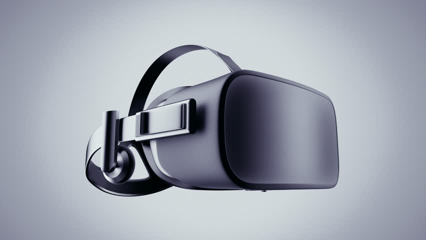 Virtual Reality mask on a light background. 3d glasses and headphones.Virtual reality technology headset isolated.