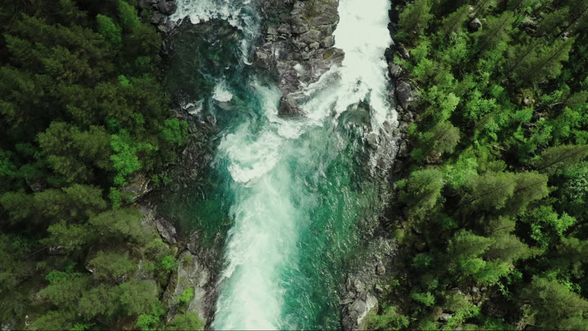Top Down view of Fast Moving River with Rapids Surrounded by Pine Forest. Shot in Norway