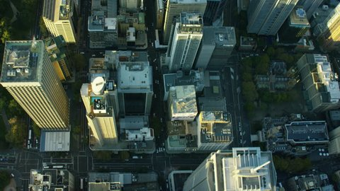 Aerial overhead view of downtown buildings Sydney Australia