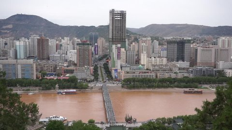 June 6,2016-Lanzhou,China: Zhongshan Bridge, also called the first bridge over the Yellow River, first built in 1907, now is a tourist landmark of Lanzhou city.