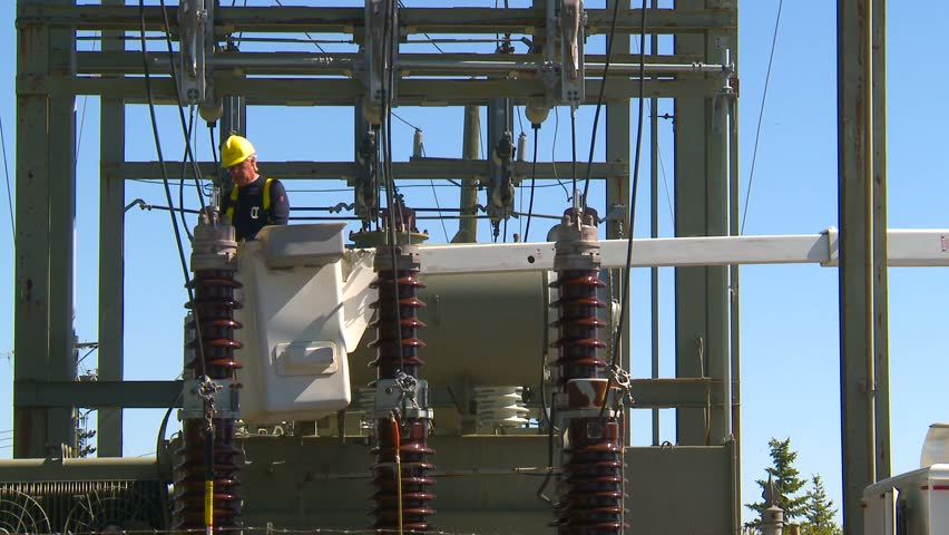 electrical worker on substation