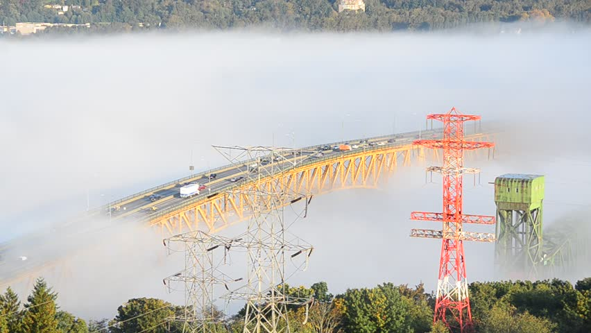 Second Narrow Iron Workers Memorial Bridge in Fog in Vancouver, Canada