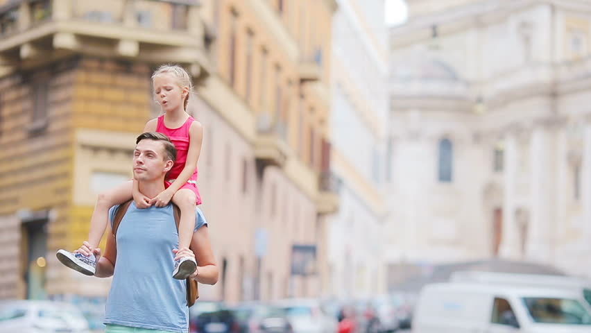Family in Europe. Happy father and little adorable girl in Rome during summer italian vacation | Shutterstock HD Video #18794696