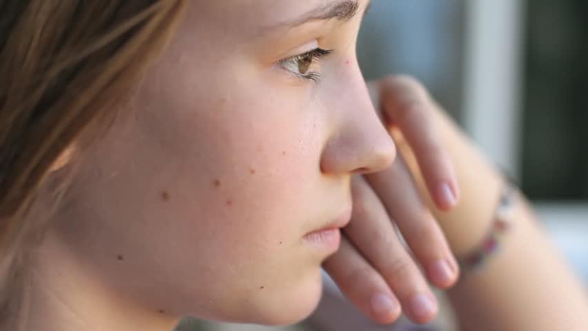 Closeup Profile Girl Face. Sad Stock Footage Video (100% ...
