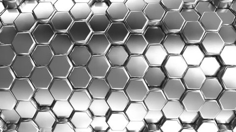 Animated Silver Honeycombs. Abstract background, loop, created in 4K, 3d animation