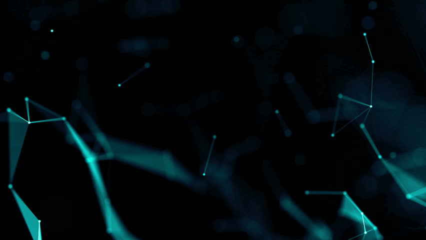 3d render plexus connections background. Abstract polygonal space dark background with connecting dots and lines. Background of cybernetic particles. Magic blue surface with dots and lines. Loop. | Shutterstock HD Video #18876602