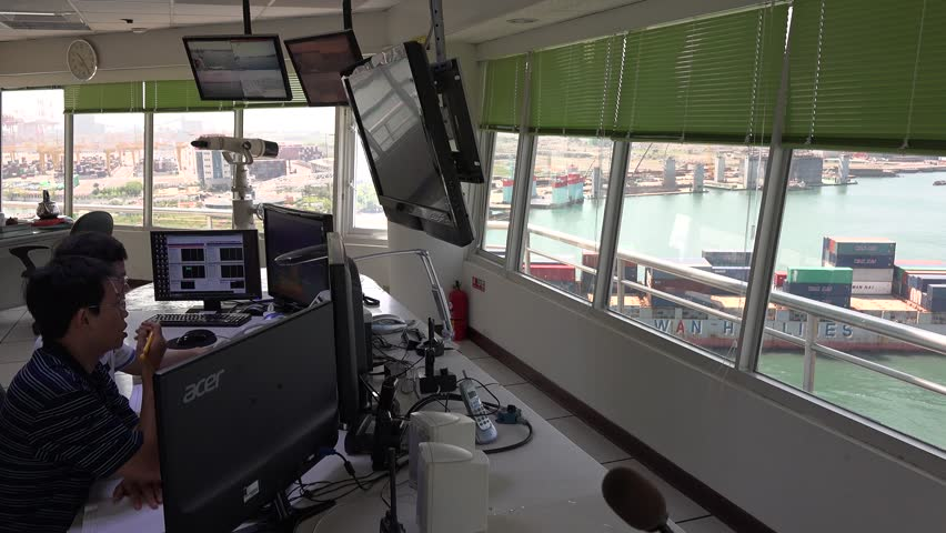 Kaohsiung, Taiwan-11 September, 2015: Inside of the vessel traffic service center (Control Tower) in Port of Kaohsiung, the largest harbor in Taiwan. 4K   Shutterstock HD Video #18940193
