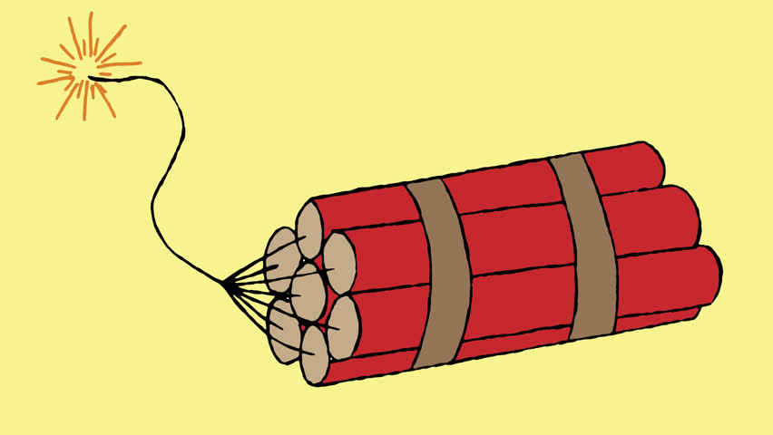 Dynamite Exploding Retro Animation Transparency. Dynamite, TNT, hand drawn animation and exploding. First with yellow background, second with transparent alpha channel background.