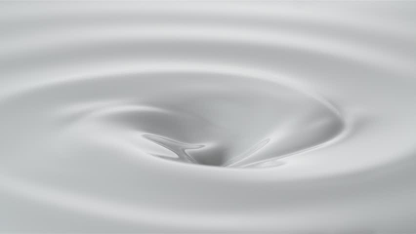 Pouring milk into swirl of milky liquid. Shot with high speed camera, phantom flex 4K. Slow Motion.