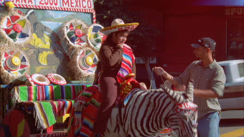 day Souvenir Picture stand zebra donkey painted zebra stripes front  colorful cart Tijuana 98b9e4e4204