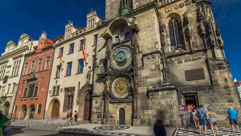 Prague Astronomical Clock timelapse hyperlapse, medieval astronomical clock, on the southern wall of Old Town City Hall in the Old Town Square, Prague, Czech Republic