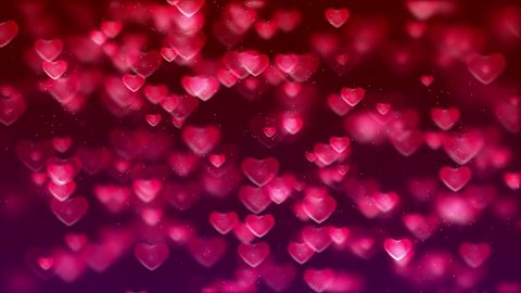 Animated HD motion background video loop - Group of valentines hearts