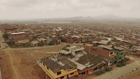 Aerial of flying over Slums in Lima, Peru. South America.