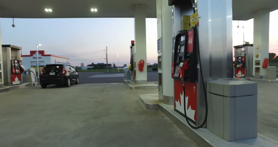 MONTREAL, CANADA - AUGUST 2016: Petro-Canada Gas Station at Sunset