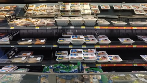 MONTREAL, CANADA - AUGUST 2016: Animal Meat Products Display At Walmart Store