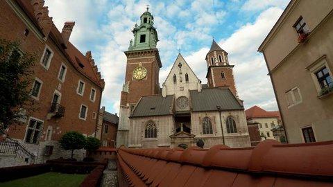 KRAKOW, POLAND - SUMMER, 2016: Wawel cathedral on Wawel Hill in Krakow, Poland. Shot in 4K (ultra-high definition (UHD)).