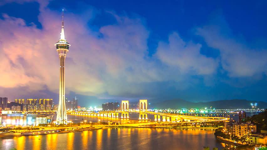 Time Lapse a City Macau Tower Viewpoint of Macau
