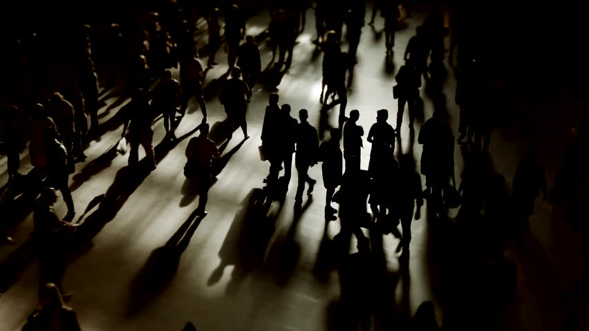 Large crowd of people commuting in the city. silhouette of business commuters walking on street. abstract urban metropolis background | Shutterstock HD Video #19171027
