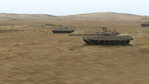 Armored Heavy Tanks In Battlefield - CG. Military and war related concept.