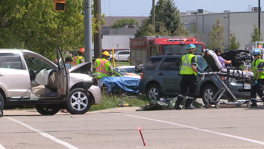 Waterloo, Ontario, Canada August 2016 car crash and accident scene in city intersection