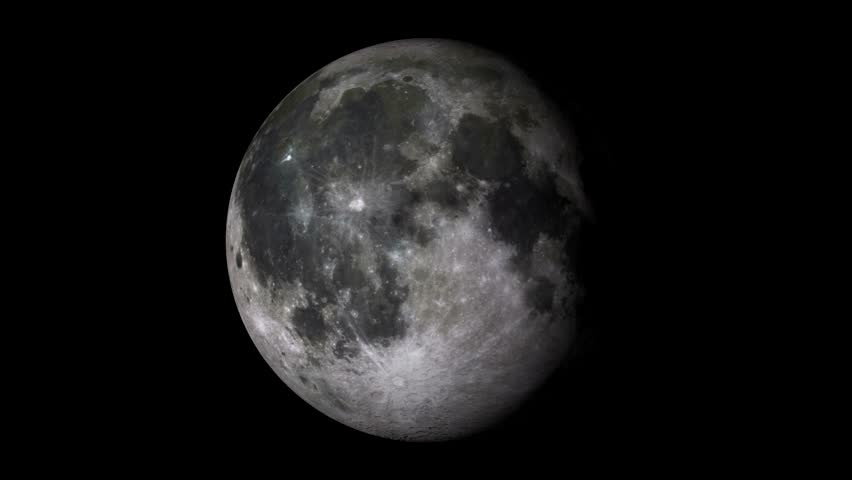 Full moon rotating on a solid black background. Loopable 4k footage.  #19219747