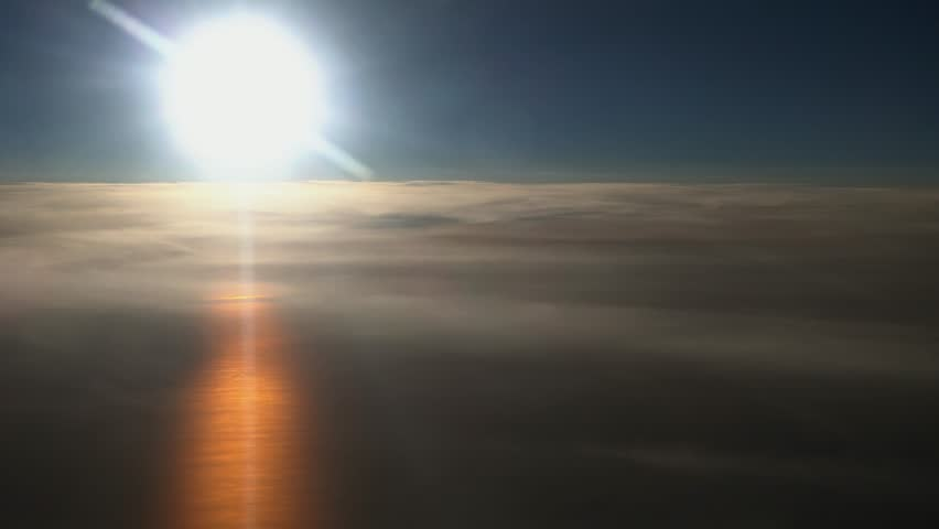 Sunset over the Baltic sea, sun over layer of clouds and reflection on the sea, aerial view #19272937