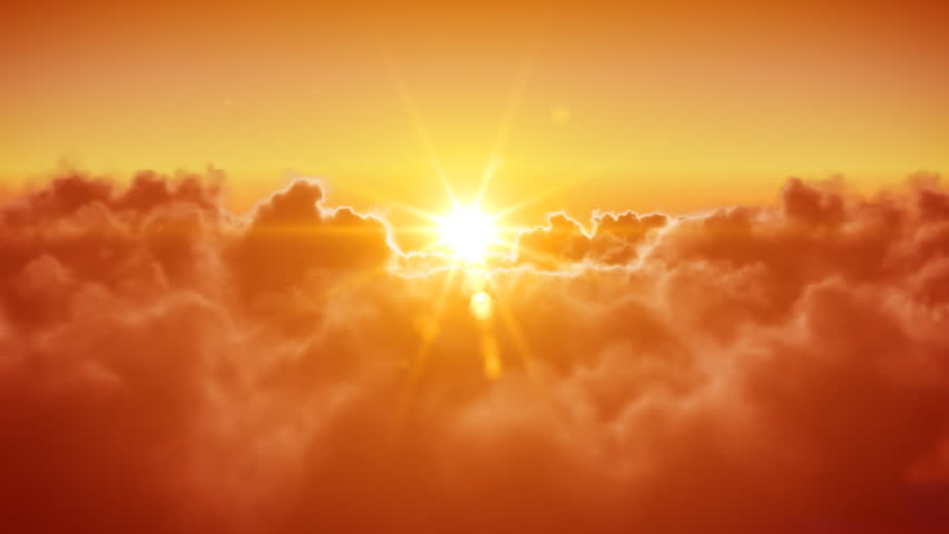 Flying over the clouds with the evening (morning) sun. Seamless 3d animation. HD 1080.