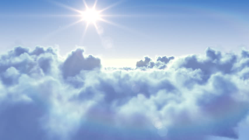 Flying over the clouds with the afternoon sun. Seamless 3d animation. HD 1080.