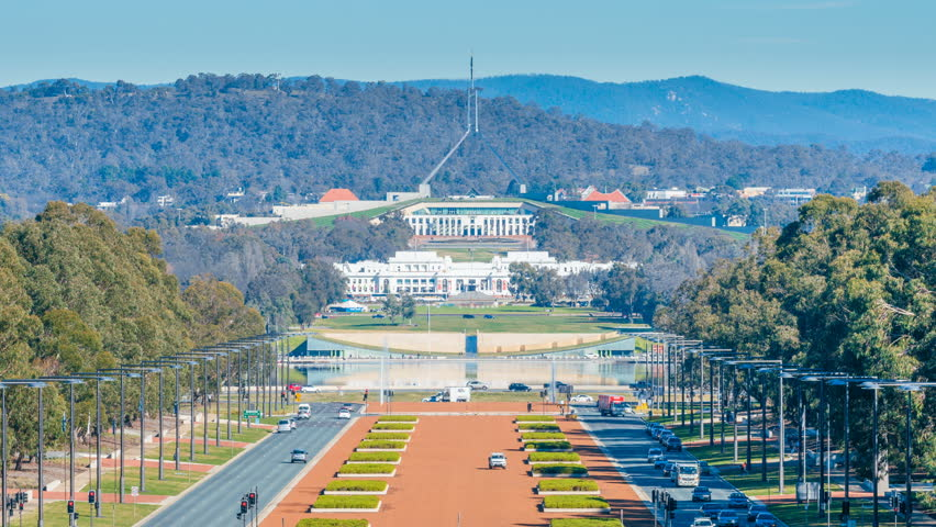 4k timelapse video of Parliament House in Canberra, Australia from day to night