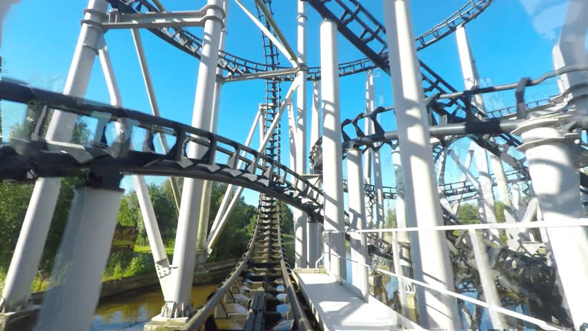 Rollercoaster ride full lap front seat footage