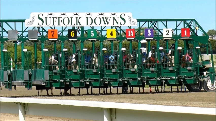 Suffolk Downs Boston, USA - June 10, 2014 - Horse race begins as riders leave the starting gate.