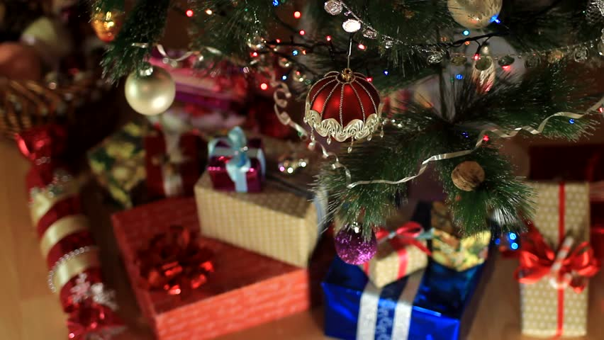 Christmas Tree, Candles And Gifts   HD Stock Footage Clip