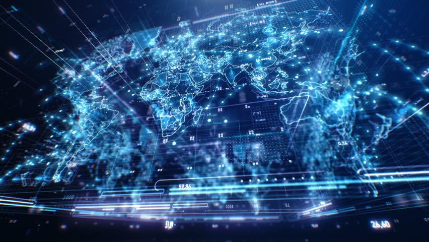 World Map 3D. Dark Blue Digitally looking map of the world. Seamless Loop. | Shutterstock HD Video #19324225