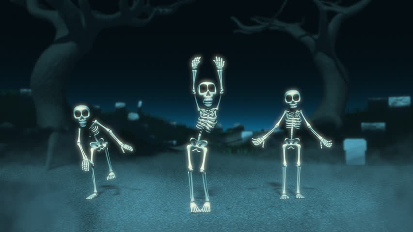 Cartoon Skeleton Dance on a Cemetery/Dancing skeletons on a cemetery. Animation