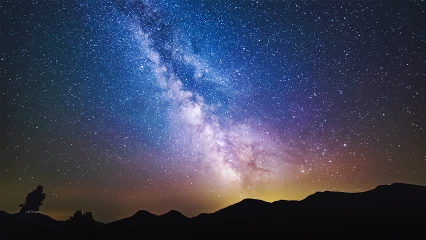 The Milky Way galaxy moving over the mountain range on a background