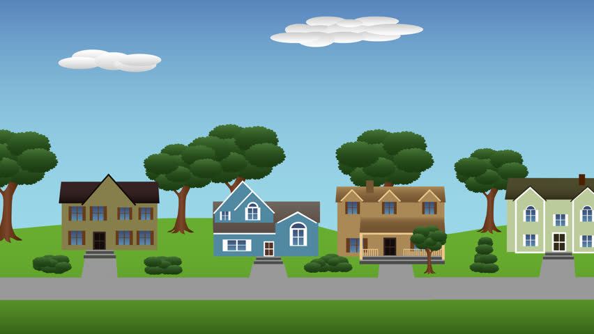 flat cartoon panoramic city town suburb day with mountains